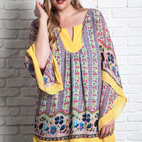 Women's Floral Bell Sleeve Tunic