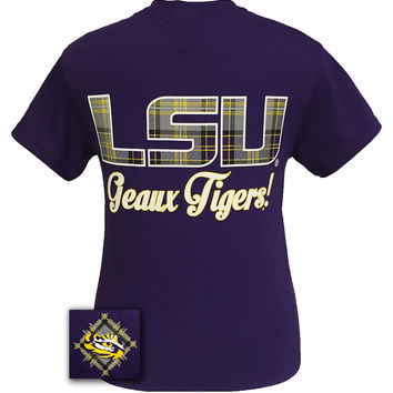 Louisiana State LSU Tigers Plaid Big Logo Girlie Bright T Shirt