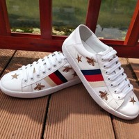 Gucci Fashion Women Causal Star Bee Embroidery Leather Sport Shoe Sneakers