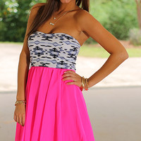 Party Out West Dress, Hot Pink