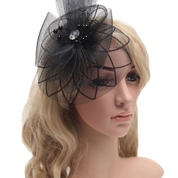 2016 Retail Wedding Holiday Fascinator Cocktail Hat For Women French Veiling Hair Headband Vintage Fashion Lady Party Accessory