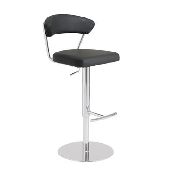 Draco Adjustable Swivel Bar/Counter Stool in Black with Chrome Base