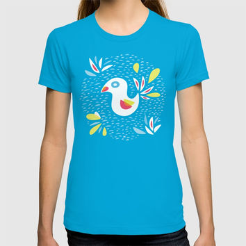 Abstract Bird In Spring T-shirt by borianagiormova
