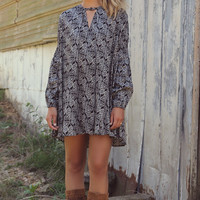 Fade To Fall Long Sleeve Printed Black & Cream Floral Trapeze Dress