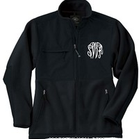 Monogrammed Unisex Fleece Coat- Black