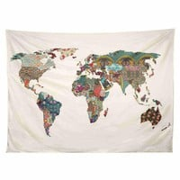 Art World Map Tapestry Printed (No Frame)