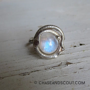 Moonstone Snake Ring, Ouroboros lovers knot, Moonstone Ring, Sterling Silver, Victorian Eternity Snake Ring, Gothic Jewelry