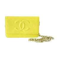 CHANEL bag / wallet on a chain lime yellow caviar NWT divine