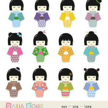 Kokeshi Dolls Clip Art Set-Japanese dolls, instant download, colorful, kawaii, digital design, eps, png, jpeg