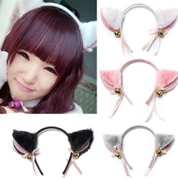 ONETOW Cat Fox Ears Long Fur headband with Bell Bow for Anime Cosplay Party Costume New