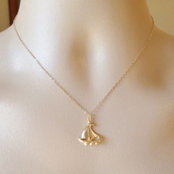 Gold Ship Necklace - Ship Jewelry - Ship Necklace - Nautical Jewelry - Nautical Jewellery - Gold Necklace - Mothers Day Gift