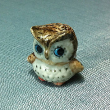 Miniature Ceramic Owl Bird Night Animal Cute Funny Little Tiny Small Brown White Blue Figurine Statue Decoration Hand Painted Craft Figure