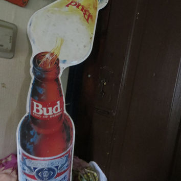 1980s  Anheuser Busch Budweiser   TIN BAR SIGN large bottle and glass