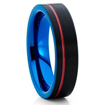 6mm - Red Tungsten Ring - Tungsten Wedding Band - Blue Tungsten Ring