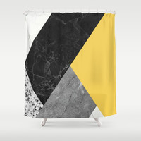Black and white marbles and pantone primrose yellow color Shower Curtain by calacatta