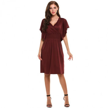 New Women Casual V-Neck Slimming Short Flare Sleeve Empire Waist Solid Pullover Elastic Pleated Dress
