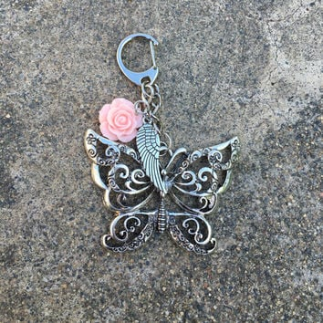 Mother's Day Gift Pretty Butterfly,Rose, WIng Key Chain with FREE Bag & Angel Message Card.  Angel, Reiki, Healing Energy Infused. TEMPT