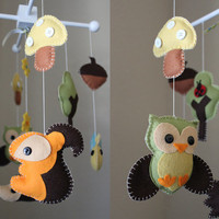 Baby Crib Mobile - Baby Mobile - Nursery Forest Crib Mobile - Wood Forest Creatures - Owl, Rabbit, Snail, Hedgehog (Pick Your Colors)