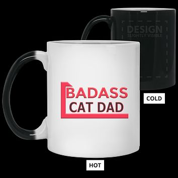 Cat Lover Gift Badass Cat Dad Color Changing Mug 11 oz Custom Magic Mug