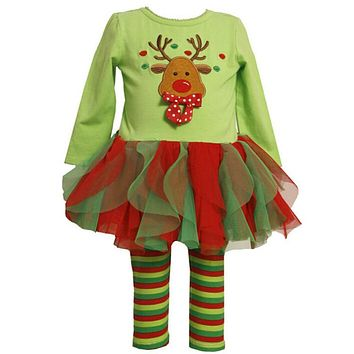 Clothing boutique clothing sets for baby girl Cotton Deer long sleeve tutu dress+legging