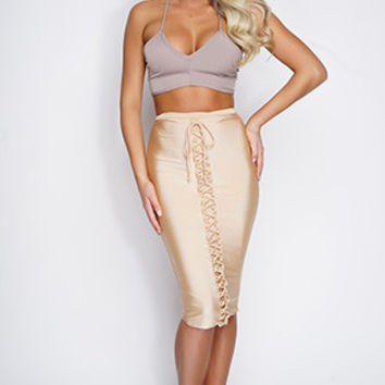 Alya Lace Up Mesh Skirt - Nude