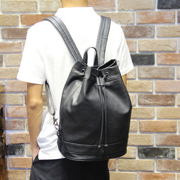 Men's Black Multifunctional Laptop Bag Leather Backpack Travel Bag