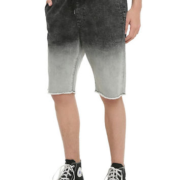 XXX RUDE Black & Grey Ombre Jogger Shorts
