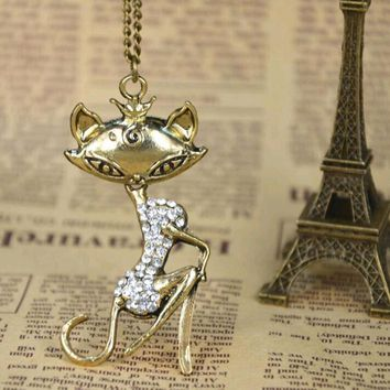 European Rhinestone Girl Cat Pendant Necklace