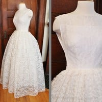 Gorgeous Pure White 1960's Lace Wedding Dress with by wanderlost