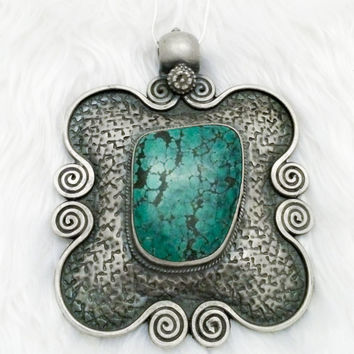Temple Amulet Indian Turquoise Necklace
