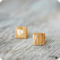 Post earrings - golden squares stud earrings - handmade jewelry