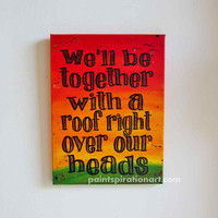 Music Art Bob Marley Art Song Lyrics Wall Art - Love Quotes on Canvas Rasta Colors Red Yellow and Green - Love Sayings Housewarming Gifts