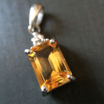 Sterling Silver Citrine and Diamond Pendant