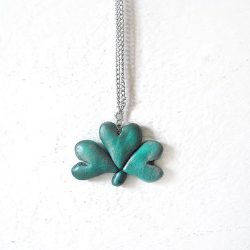 Saint Patrick's Day Big shamrock necklace in porcelain made by hand, 45 cm long.