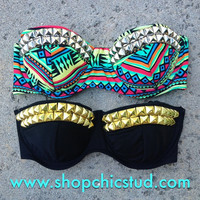 Studded Bikini Top - Swimwear - Tribal Print OR Black - Gold, Silver, or Black Studs -