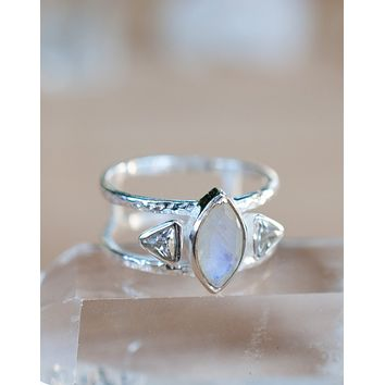 Moonstone & White Topaz Ring (BJR046)