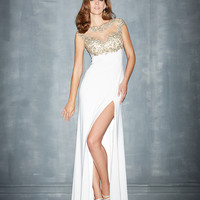 Night Moves by Allure - White Stretch Jersey & Jeweled Netting Prom Dress