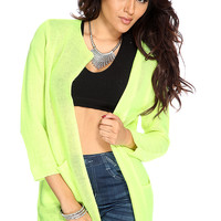 Neon Lime Open Knit Long Sleeves Cardigan