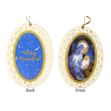 2 Christmas Ornaments - Portrait Of Mary And Baby Jesus On Front