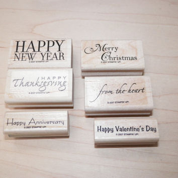 Stampin Up Holidays and Wishes Wood Block Stamp Set of 6