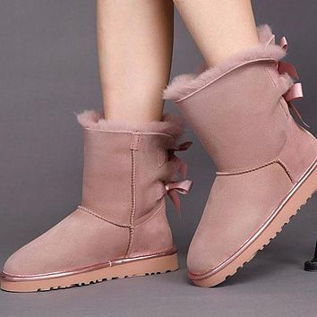 Sale Ugg 1019034 Twilight Pink Classic Bailey Bow II Metallic Boot Snow Boots
