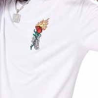 Flame Rose Oversized Tee | White
