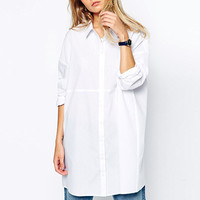 White Long-Sleeve Collared Shirt