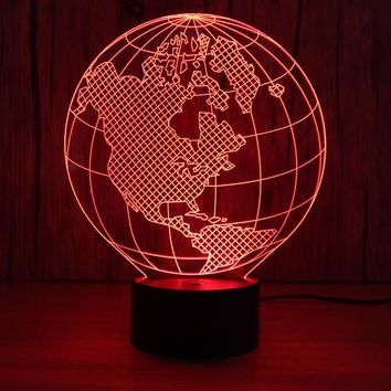 United States Map Globe 3D LED Lamp