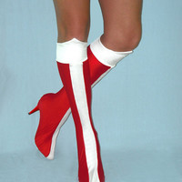 Wonder Woman Boots, Plain spandex or shiny metallic spandex.