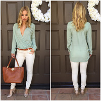 Let It Go Wrap Blouse - MINT