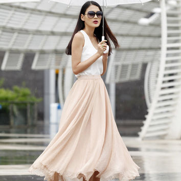 Fairy Casual Chiffon Maxi Skirt Strapless Dress Big Sweep Long Skirt in Nude Color - NC461