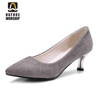 Big size shoes women high heels flock women shoe pointed toe pumps office career shoes women's office lady shallow shoes pumps