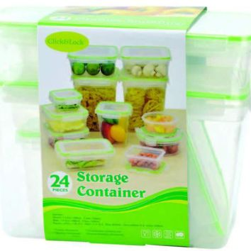 24 Piece Plastic Container With Click & Lock Lids - CASE OF 6