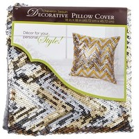 "18"" x 18"" Gold & Silver Chevron Pillow Cover 